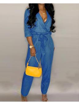 Cheap Blue Jumpsuit Plain Skinny Belted Casual