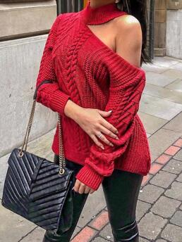 Long Sleeve Sweater Polyester Plain Turtleneck Loose Knit Clearance