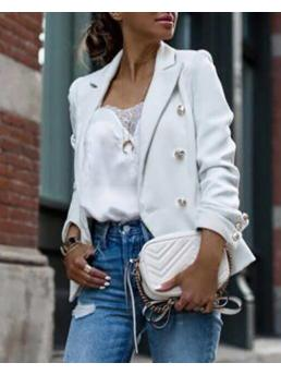 Long Sleeve Polyester Plain White Double Breasted Blazer Coat Discount