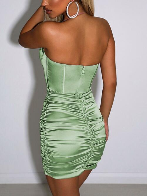 Green Plain Halter Mini Grommet Eyelet Lace-up Front Ruched Dress Beautiful