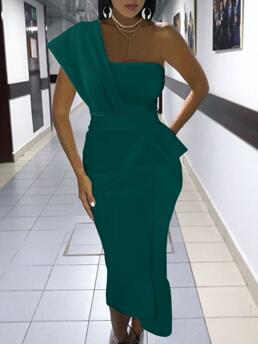 Green Plain One Shoulder Midi Solid Ruched Dress on Sale