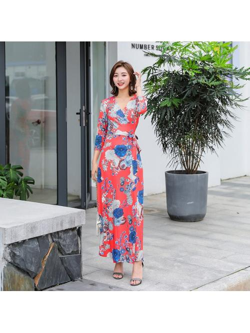 Women Wrap Dresses Bohemian Beach Ankle-legnth Floral Three-quarter Slim Lace-up Elegant Dress Clothing