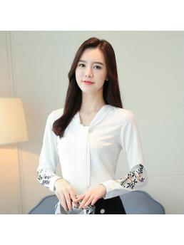 Fashion Chiffon Women Blouses Floral Embroidery White Women Shirts Blusas Femininas Elegante Ladies Tops
