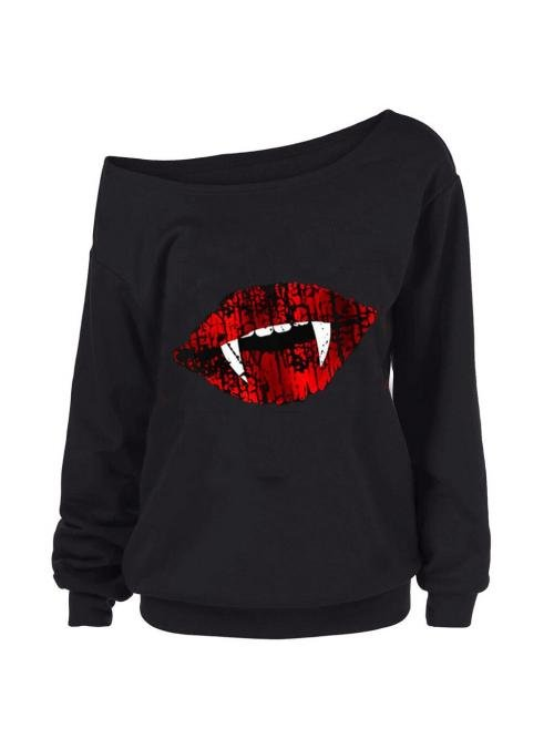 Women's Tops Halloween Gothic Punk Devil Teeth Printed Skew Collar Casual T-shirt Blouse