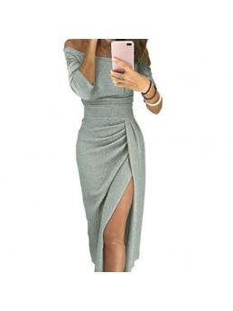 Women Lady Off Shoulder High Slit Slim Solid Color Bodycon Dress for Party