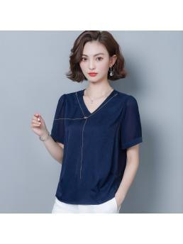 Summer Casual Silk Women Blouses Satin V-Neck Short Sleeve Navy Women Shirts Womens Tops and Blouses