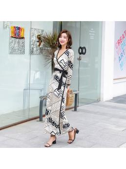 Women Wrap Dresses Bohemian Beach V-neck Slim Waist Elegant Ladies Vintage Holiday Dress Elegant Clothing Ankle-length