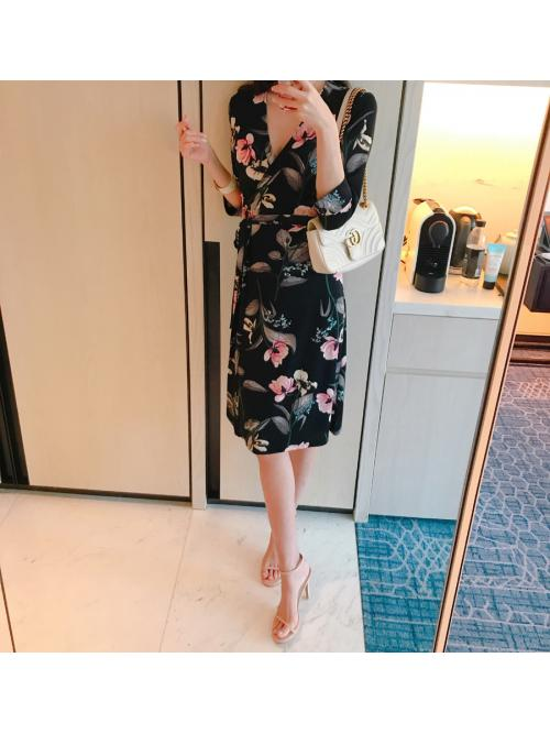 Women Wrap Dresses Bohemian Beach Three-quarter Sleeve Lace-up Adjustable Waist Elegant Floral Vintage Bottoming Dress