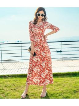 Korea Women Maxi Wrap Dresses Floral Bohemian Beach Three-quarter Sleeve Elegant Ladies V-neck Lace-up Adjustable Waist Vintage