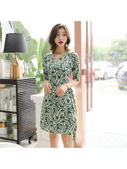 Women Wrap Short Dresses Half Sleeve V-neck Lace-up Slim Waist Bohemian Beach Floral Green Elegant Ladies Dress Clothing