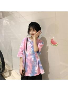 Summer Short Sleeve Tshirt Women Tie Die Loose T Shirts Female Streetwear Tees O-neck Plus Size T-shirt For Women