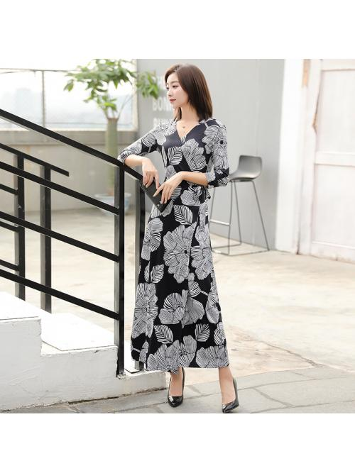 Women Maxi Wrap Dresses Three-quarter Sleeve Floral V-neck Ankle-length Bohemian Beach Holiday Elegant Ladies Autumn Dress