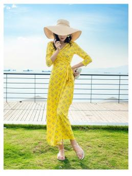 Women Wrap Maxi Dresses Floral Bohemian Beach Lace-up Adjustable Slim Fit Elegant Ladies Holiday Ankle-lenght Dress