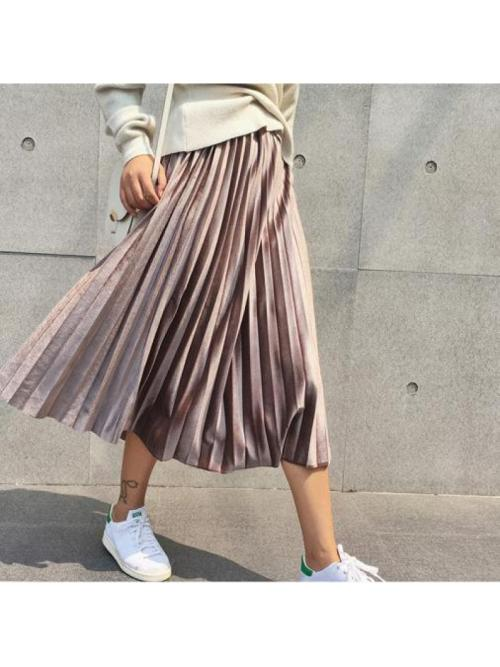 Danjeaner Spring 2019 Women Long Metallic Silver Maxi Pleated Skirt Midi Skirt High Waist Elascity Casual Party Skirt Vintage