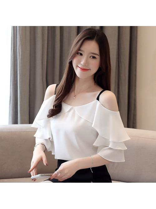 Fashion Chiffon Women Blouses Ruffles Slash Neck Butterfly Sleeve White Women Shirts Blusas Femininas Elegante