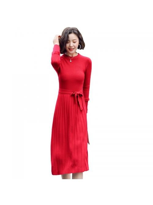 Fashion Autumn Sweater Dress Women Knitted Dress Elegant Women High Waist Pleated Dresses Korean Woman Pullovers Sweater Dresses