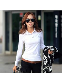 Women Cotton T-shirt Turn-down Collar Long Sleeve Slim Basic Shirt tshirt Tops Camisetas Mujer
