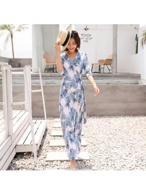 Women Wrap Dresses Bohemian Beach Ladies Elegant Sexy Ladies Holiday Summer Floral Pineapple Three-quarter Sleeve Ankle-length