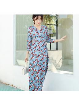 Women Maxi Wrap Dresses Floral Bohemian Beach Ankle-length Three-quarter Sleeve V-neck Floral Elegant Lace-up Adjustable
