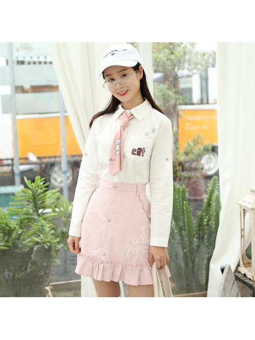 Japan Style Blouse Women Embroidery Letter Cat Pocket Cotton Shirt Cute Tie Top Spring Autumn Long Sleeve blusas