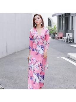 Women Wrap Long Dresses Floral Pink Bohemian Beach V-neck Lace-up Slim Waist Ladies Split Dress Clothing Three-quarter Sleeve