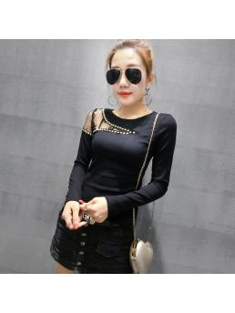 Sexy Mesh Pullover Tshirt Spring Autumn Women Long Sleeve Patchwork Lace Hollow Out Diamonds Rivet T Shirts