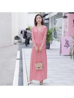 Women Wrap Dresses Slim Waist Bohemian Beach V-neck Chain Print Three-quarter Sleeve Ladies Elegant Sexy Dress Clothes