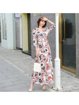Women Maxi Wrap Dress Floral Three-quarter Sleeve Lace-up Slim Elegant Bohemian Beach Ankle-length Vintage Dress Clothng