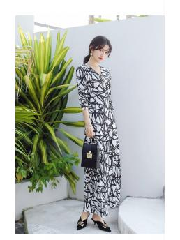 Women Maxi Wrap Dresses Three-quarter Sleeve Irregular Striped Ankle-length Bohemian Beach Holiday Elegant Bodycon Dress