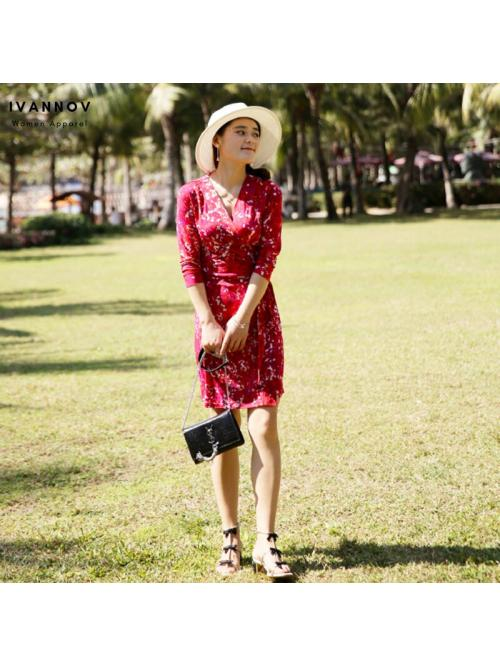 Women Bohemian Beach Wrap Dresses Three-quarter Sleeve Lace-up Slim Fit Mini Elegant Floral Holiday Vintage Sexy Dress