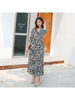 Women Wrap Long Dresses Floral Bohemian Beach V-neck Slim Waist Split Elegant Ladies Vintage Three-quarter Dress Clothing