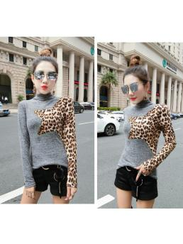 Patchwork Leopard Pullover Tshirt Spring Autumn Women Long Sleeve Bottoming Shirt Turtleneck T Shirts Clothes