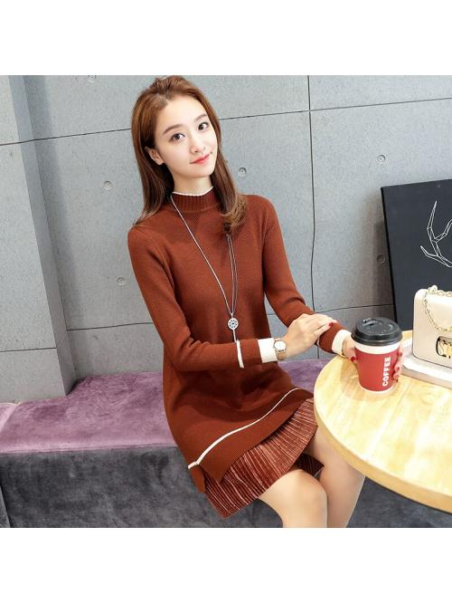 Autumn Women Sweater Dress Woman Knitted Sweaters Dresses Elegant Woman Stretch Sweaters Dress Women Sweater Midi Dresses