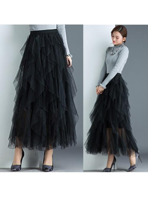 Fashion Tutu Tulle Skirt Women Long Maxi Skirt Black Pink High Waist Pleated Skirt Female