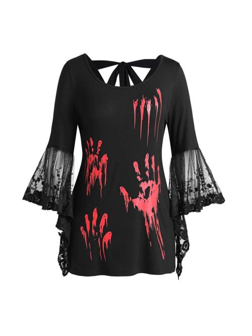 Women's Tops Halloween Lace Flare Sleeve Blood Hands Print Back Knotted Top