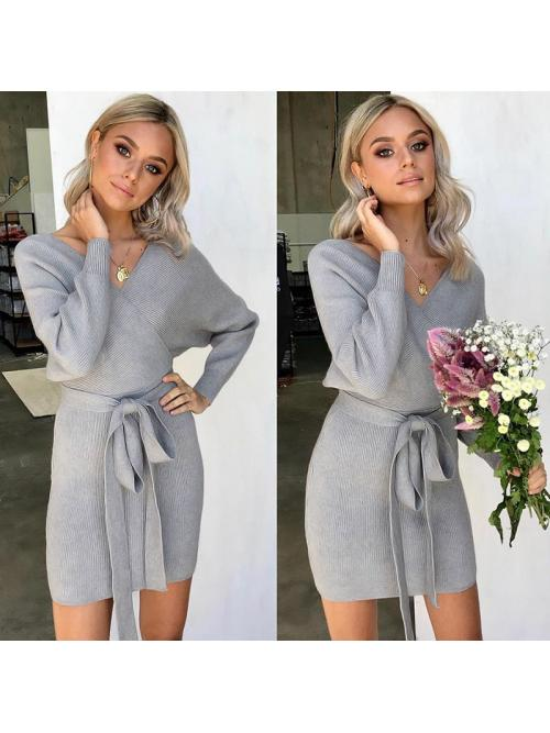women dress knitted midi dress Sexy V Neck dress autumn winter sweater dress Solid Color Elegant Ladies