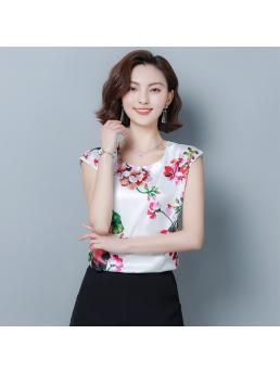 Fashion Silk Women Blouses Satin Flower Batwing Sleeve White Women Shirts Blusas Femininas Elegante
