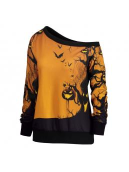 Women's Blouse Fashion Halloween Party Skew Neck Pumpkin Print Sweatshirt Jumper Pullover T-shirt Tops