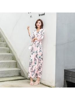 Women Wrap Dresses Floral Pink Three-quarter Sleeve Ankle-length Split Lace-up Slim Waist Ladies Long Dress Clothes