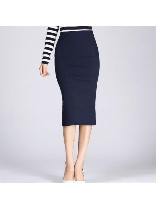 Autumn Winter Women Pencil Skirt High Waist Cotton Solid Color Stretch Elastic Slim Business OL Split Bodycon Skirts