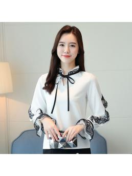 Fashion Chiffon Women Blouses Autumn Lace Long Sleeve White Women Shirts Femininas Elegante Ladies Tops