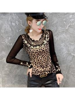 Leopard T-shirt Women Autumn Mesh Patchwork Appliques Embroidery Slim Stretchy Tops Shirt Transparent Long Sleeve