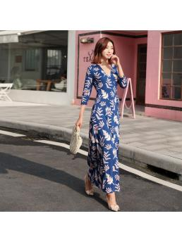 Women Wrap Dresses Bohemian Beach DV Floral V-neck Three-quarter Sleeve Ankle-length Split Lace-up Slim Waist Clothing