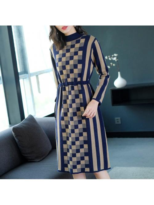 autumn and winter new large size fashion waist slim plaid dress female long section sweater