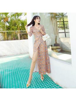 Women Maxi Wrap Dresses Three-quarter Sleeve Slim Waist Lace-up Adjustable Elegant Bohemian Beach Elegant Bodycon Dress