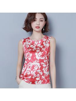Fashion Silk Women Blouses Satin Print O-Neck Sleeveless White Women Shirts Womens Tops and Blouses