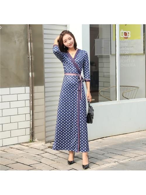 Women Maxi Wrap Dresses Dandelion Print Ankle-legnth Three-quarter Sleeve V-neck Bohemian Beach Holiday Autumn Dress