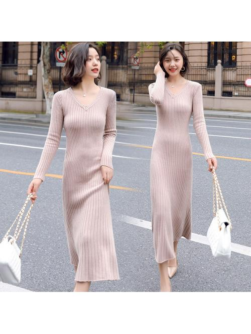 Fashion Autumn Sweater Dress Women Knitted Sweaters Dresses Woman V-neck Long Dress Pullover Sweater Stretch Dresses Lady