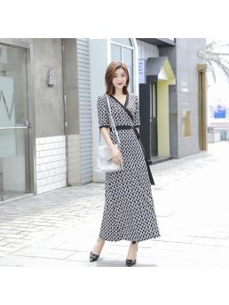 Women Wrap Dresses Ankle-length Length Lace-up Slim Wais Triangle Half Sleeve Bohemian Beach Ladies Long Elegant Dress Clothes