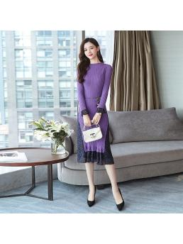 Fashion Sweater Dress Women Knitted Sweaters Dresses Autumn Woman Print Patchwork Bodycon Dress Stretch Sweater Dresses
